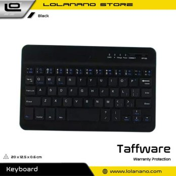 Taffware Wireless Bluetooth Keyboard Rechargeable - KM78D - Black