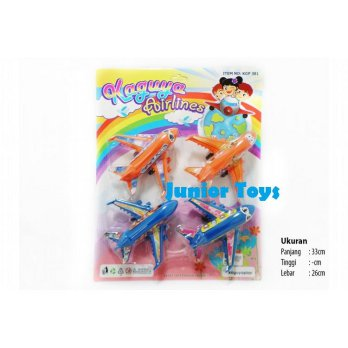 Mainan Pesawat 4 Pcs Kaguya Airlines Pull Back Action