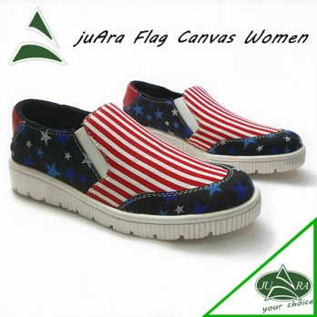 Juara slip on flat shoes flag, sepatu wanita juara slip on bendera