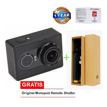 Xiaomi Yi Action Cam-16Mp-Inter Edition-Hitam Free Ori Monopod Yi