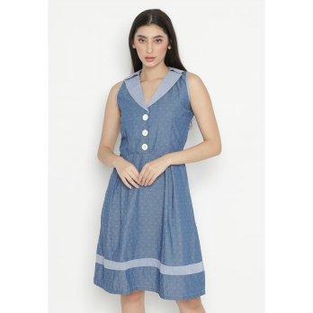 Mobile Power Ladies Sleeveless Midi Dress Button Variation - Blue OK10058