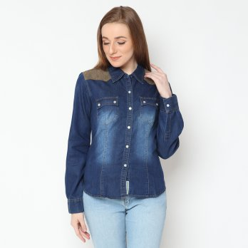 Mobile Power Basic Long Sleeve Denim Shirt - I8246