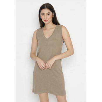 Mobile Power Ladies Sleeveless Dress Knitting - Cocoa Brown OK20373