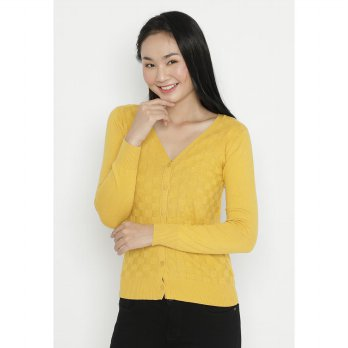 Mobile Power Ladies Basic Cardigan - Yellow OK30083
