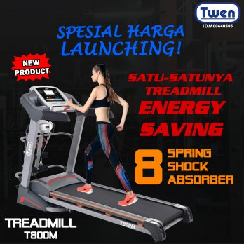 Twen Treadmill MultiFungsi T800M GREY -  Treadmill Semi Commercial/ Treadmil Elektrik Auto Incline/