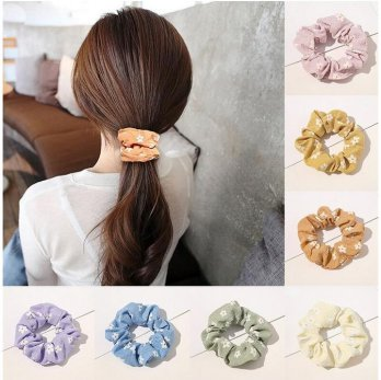 IK66 Ikat Rambut Korea Cute Korean Candy Color Flowers Hair Scrunchie