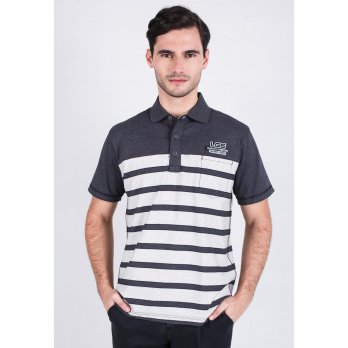 [LGS] Regular Fit - Polo Shirt - White/Gray - Color Striped CTS.224.M1929.01.C