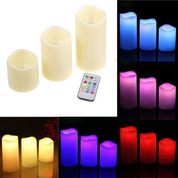 Lilin LED RGB dengan Remote 3PCS - White