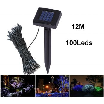 Solar Powered Garden Decoration Light 100 LED / Lampu Hias Taman - Black