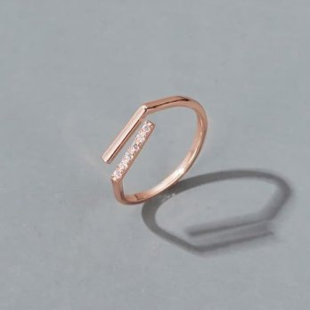 Oila cincin simpel simple zircon line open ring 3D4 jci058