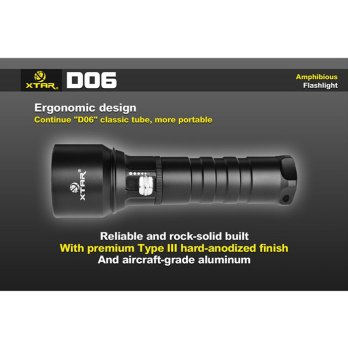 Termurah Xtar D06 Diving Waterproof Senter Led Cree Xm-L2 U2 900 Lumens
