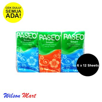 PASEO SMART POCKET TISU WAJAH FACIAL TISSUE ISI 6 X 12 SHEETS 2 PLY