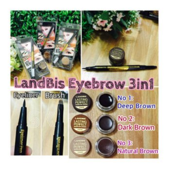 LANDBIS EYEBROW 3 in 1 with EYELINER + BRUSH MAKE UP MAKEUP ALIS MATA PERONA PEWARNA 3IN1 BEST SELLER - No 02 dark brown
