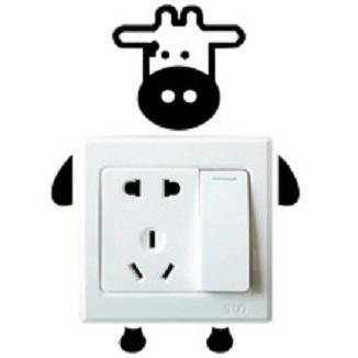 Stiker Dekorasi Saklar Lampu Motif Sapi Unik Cow Decal Wall Sticker