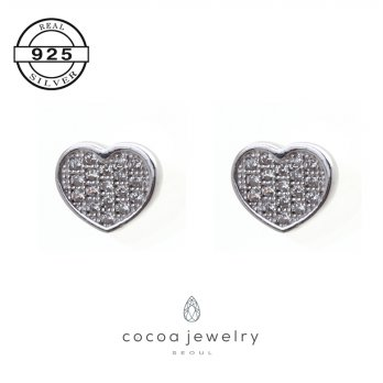 Korea Cocoa Jewelry Sweet Heart Earrings / Anting Sweet Heart | Material Real Silver