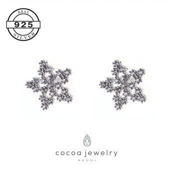 Korea Cocoa Jewelry Midhnight Star - Anting Real Silver