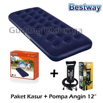 Paket Kasur Angin Single Bestway + Pompa Tabung 12