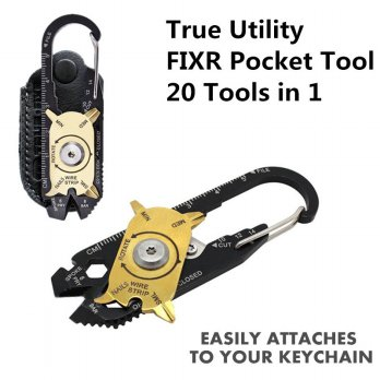 Utility Fixr Pocket MultiTool 20 in 1 EDC Survival Keychain Tool - Black