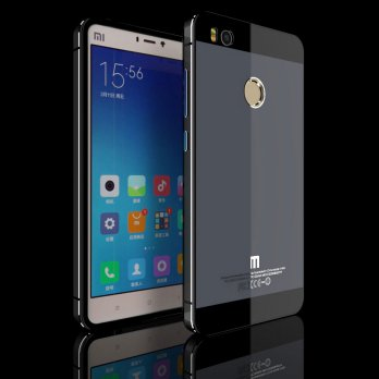 Aluminium Tempered Glass Hard Case for Xiaomi Mi4s - Black/Gray