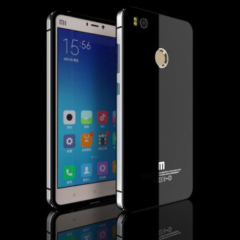 Aluminium Tempered Glass Hard Case for Xiaomi Mi4s - Black/Silver