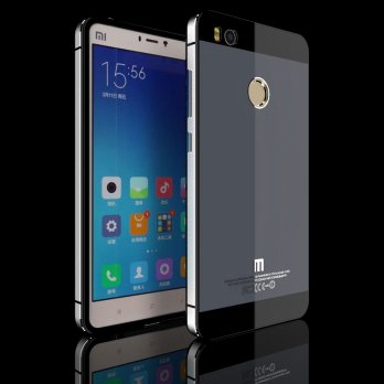 Aluminium Tempered Glass Hard Case for Xiaomi Mi4s - Gray Silver