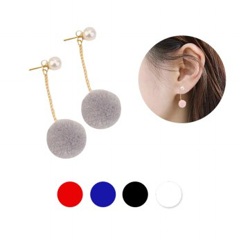 Anting Juntai Pom Mutiara Pink / Gray / White / Red / Dark Blue / Black