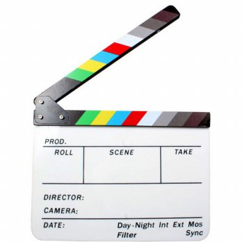 Profesional Clapper Board Colorful Acrylic - White