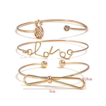 KB58849 Gelang Triple Love, Pineapple and Bowknot Gold