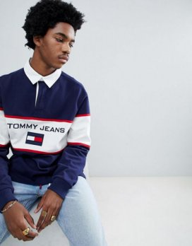 Tommy Jeans 90s Sailing Capsule Rugby Polo Chest Flag Logo in Navy