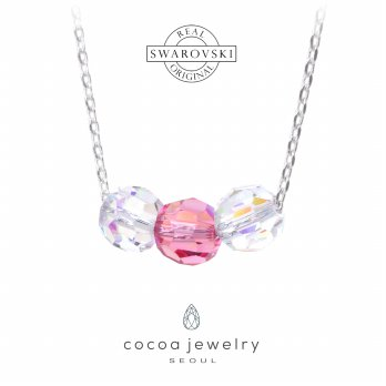 Korea Cocoa Jewelry Three Circle Cute Pink - Kalung Swarovski