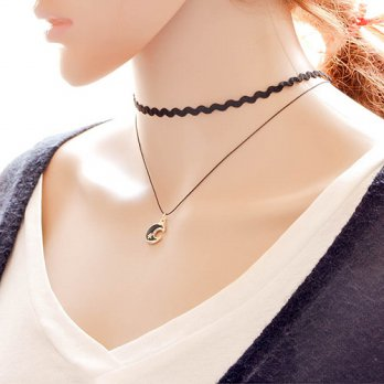 Kalung Choker Double Layer Black Moon KN66807