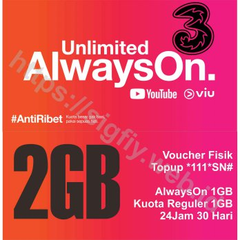 Tri Voucher Paket Data internet AlwaysOn 2GB 24Jam