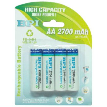 Enelong BPI Ni-MH AA Battery 2700mAh with Button Top 4 PCS