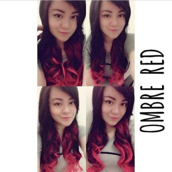 Extension Rambut Palsu Hairclip Ombre Curly Red / Hair clip Hairklip Ombre Curly Merah