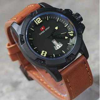 Swiss Army Mens Elegant - Hitam - Stainless/Kulit - 3ATM 350 BL Brown