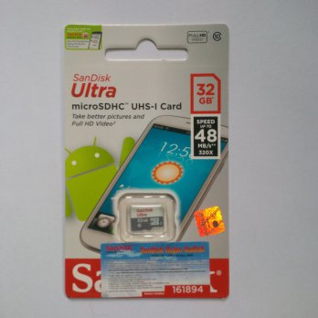 Micro SD Sandisk Ultra 32 GB SPEED 48MB/s CLASS 10 UHS1 Non Adaptor (DIJAMIN ASLI)