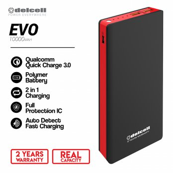 Delcell 10000mAh Powerbank EVO QuickCharge 3.0A Real Capacity Polymer - Red