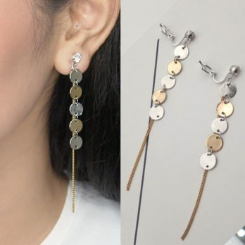Anting Jepit Korea Round copper chain ear clip no needle
