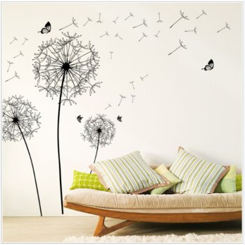 Sticker Wallpaper Dinding Black Dandelion Bahan Plastik PVC