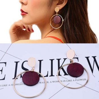 Anting Korea Round Vintage Wood earrings
