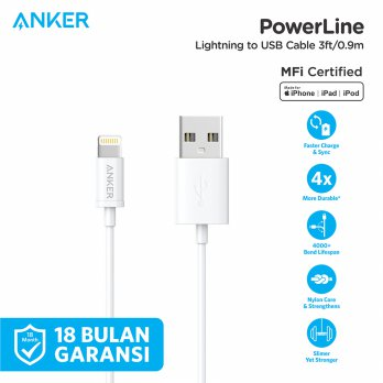 Kabel Charger Anker PowerLine MFI USB To Lightning Round Cable 3ft A7101