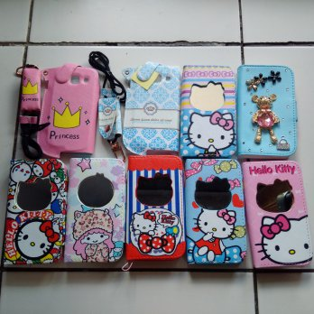 Leather Case Wallet / Dompet HP Hello Kitty For Samsung Core 1 / I8262 / I8260