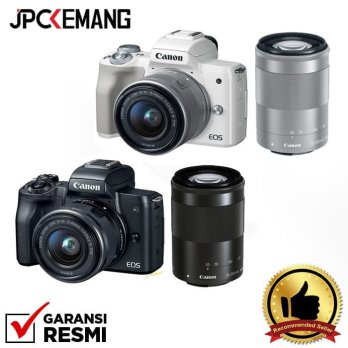 CANON EOS M50 DOUBLE ZOOM EF-M 15-45MM   EF-M 55-200 WHITE - Putih