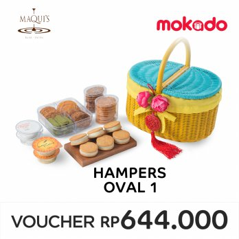 MAQUI'S Imlek Hampers - Oval 1 : 1 Cookies Square, 2 Cookies Cylinder, 4 Japanese Pudding, 6 Sable