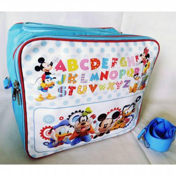 Baby Bag Organizer Karakter Mickey Alphabeth Biru 2in1 (sling bag n backpack) Tas Perlengkapan Bayi