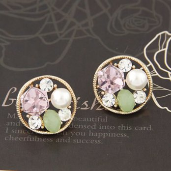 Anting Tusuk Korean exquisite fashion hollow out round shape charm