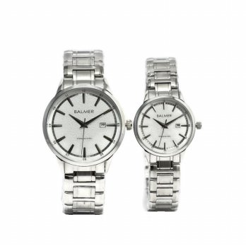 Balmer Jam Tangan Couple Stainless Steel B.7921ML Silver Plat Putih Abu