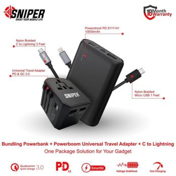 BUNDLING POWERSHOOT PD S111141 & Powerboom PD QC + C to Lightning