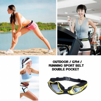 Outdoor / Gym / Running Sport Belt Double Pockets / Waterproof Pocket Smart Belt 2 Kantong