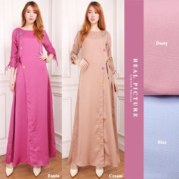 Cj collection Dress maxi panjang gamis kaftan wanita jumbo long dress Leya